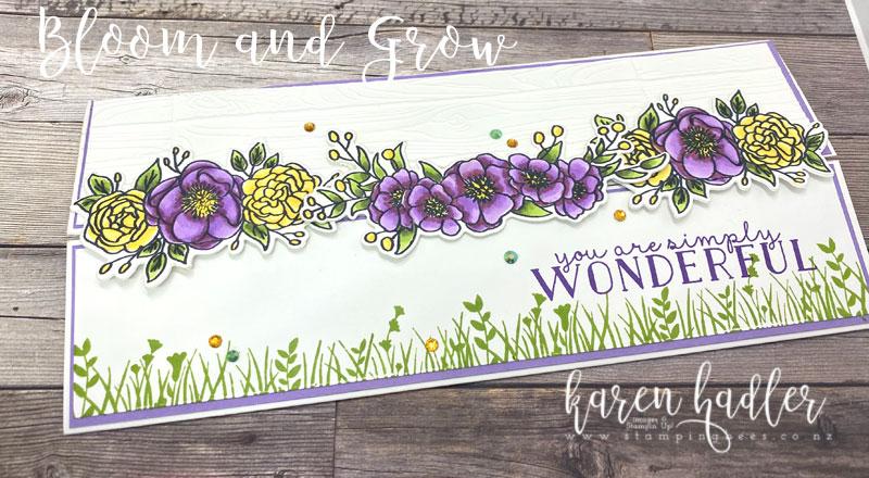 Highlighting Gatefold on slimline card with Bloom and Grow