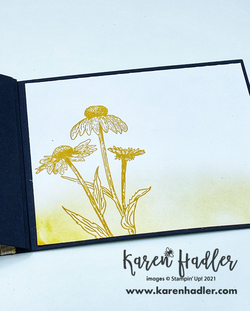 The inside of the Nature's harvest Thank You card. On a Black Card base Blended with yellow at the bottom and stamped daises in a darker yellow.