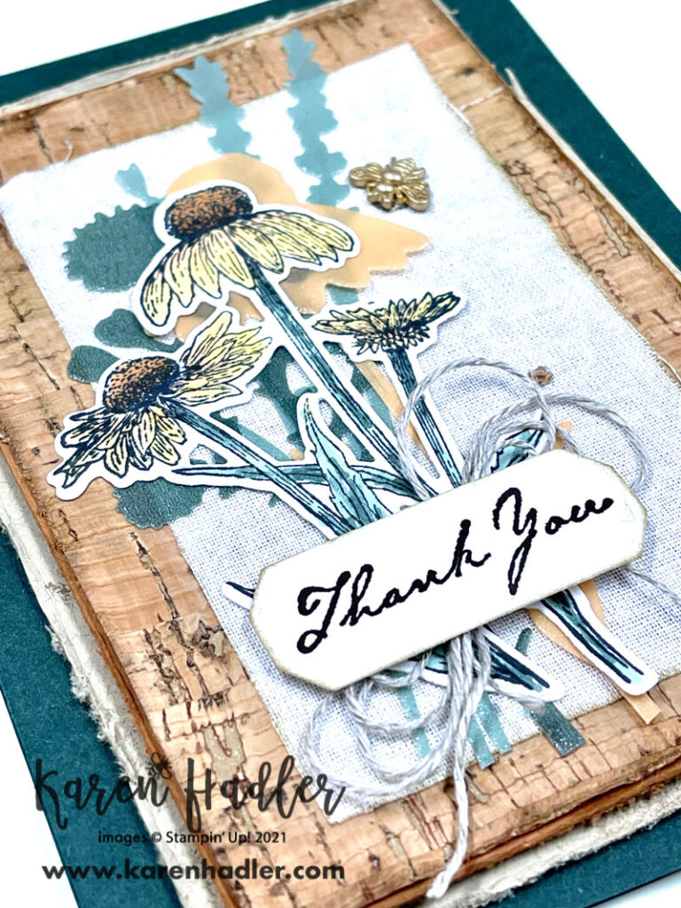 A closer look at the texture of Nature's Harvest Thank you card with texture from the Cork Specialty and Linen Papers. The card has earthy tones of Greens, yellows and browns