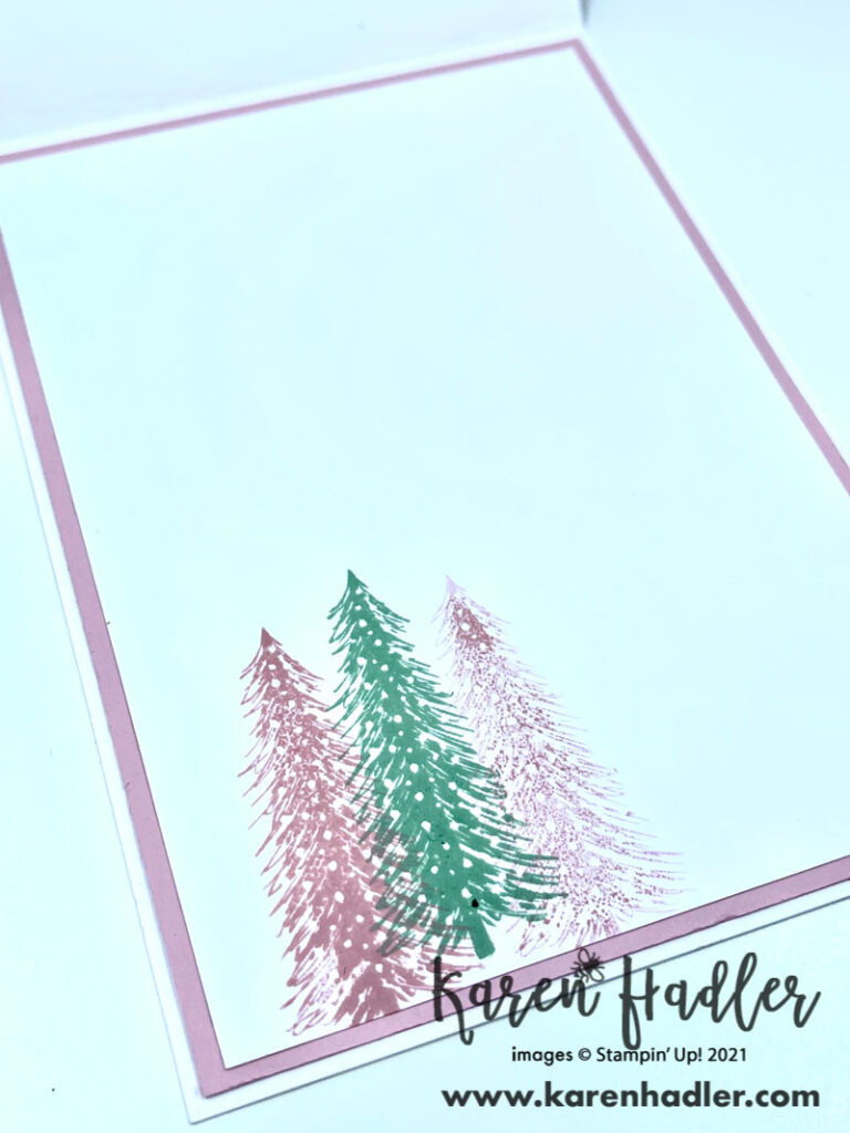 The Joy of Whimsy and Wonder Inside card showing three small stamped trees two in pink and one in green.