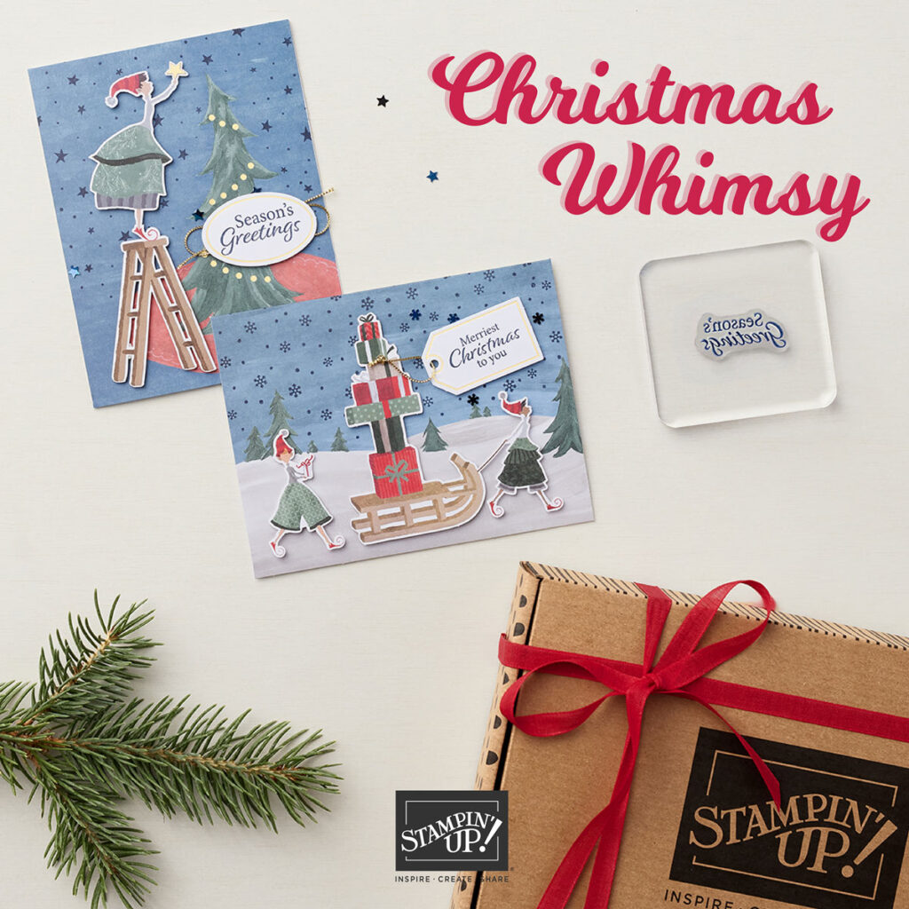 Photo showing the Christmas Whimsy kit. Two completed cards and a box.