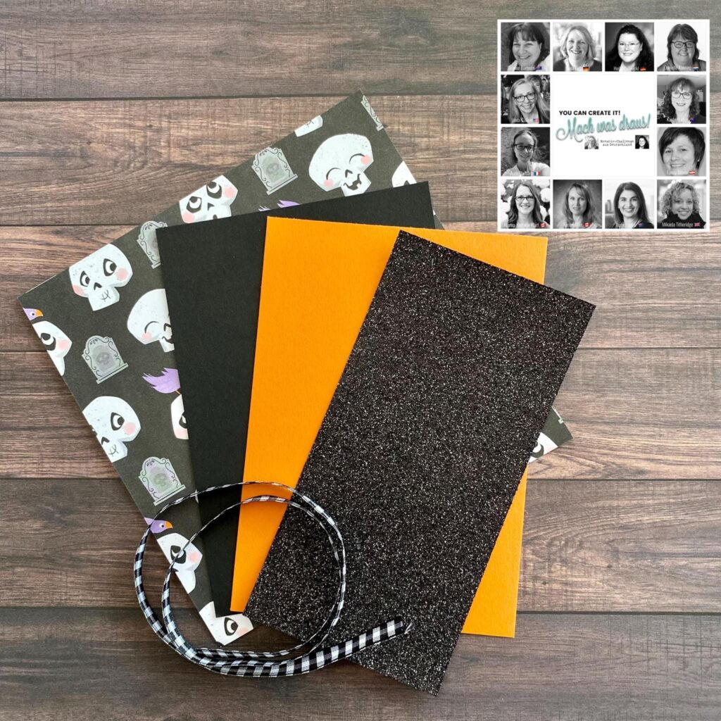 a picture showing some specialty halloween paper, black glitter card, orange and black card and some Black and white Gingham ribbon.